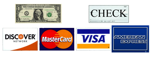 payment options: Master Card, Visa, Discover, American Express, Cash and Check